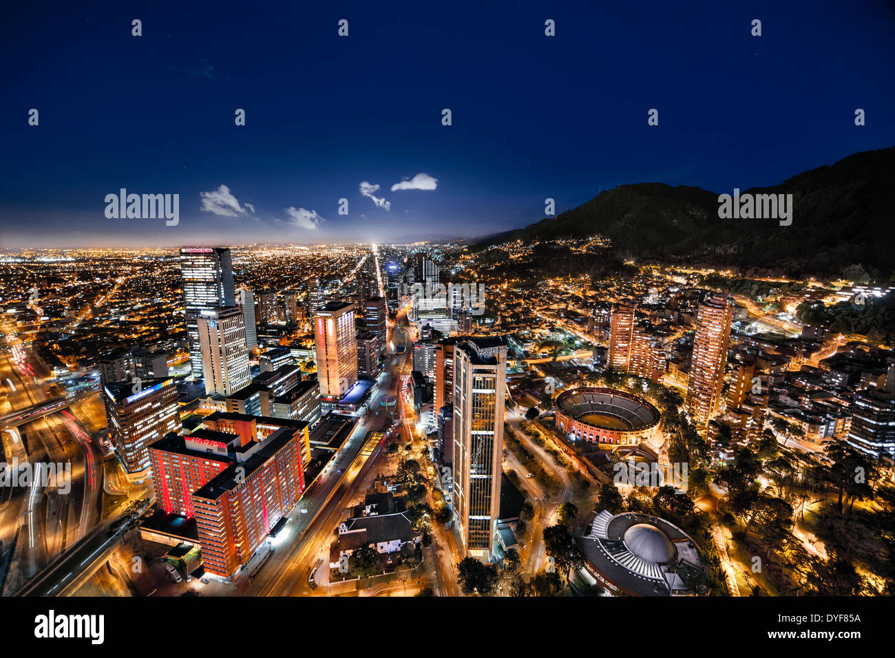 panoramic night view of bogota the capital of colombia aerial view