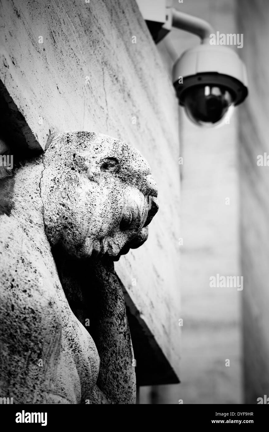 Italy. Milan. Stock exchange palace. Video security camera - Stock Image
