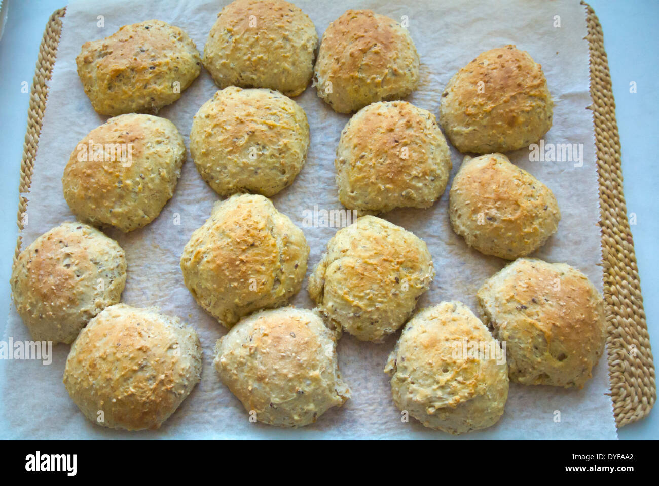 Fresh bread rolls, just out of the oven, Finland, Europe - Stock Image