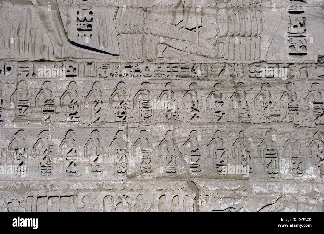 Temple of Ramses III (1198-1167 b.C. – XX° Dyn.) at Medinet Habu: reliefs on the external wall.Won enemies cities. - Stock Image