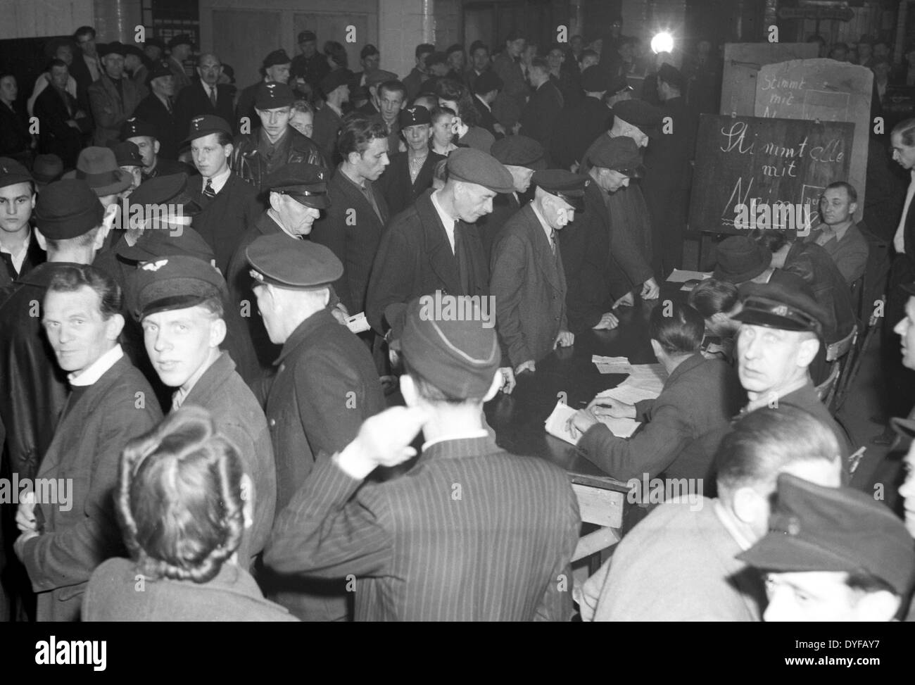 Employees of the East German State Railway during the ballot vote about the continuation of the strike in West Berlin - Stock Image