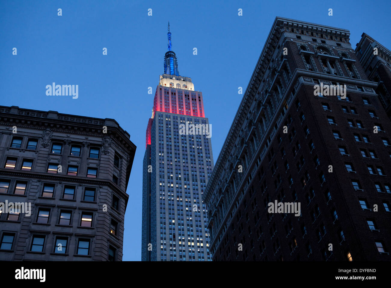 The Empire State Building lit in red white and blue on Presidents Day, New York - Stock Image