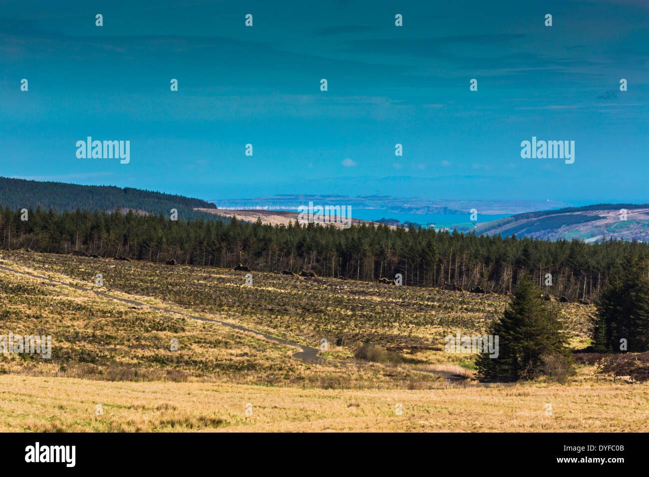 Rathlin Island  viewed from Orra Mountain through Glenshesk County Antrim Northern Ireland - Stock Image