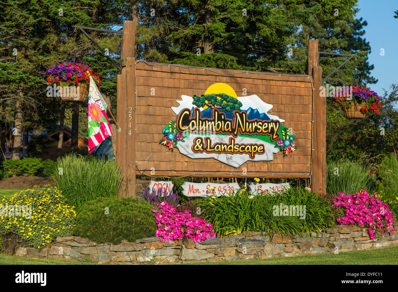 The Columbia Nursery and Landscape outdoor sign in Columbia Falls, Montana, USA. - Stock Image