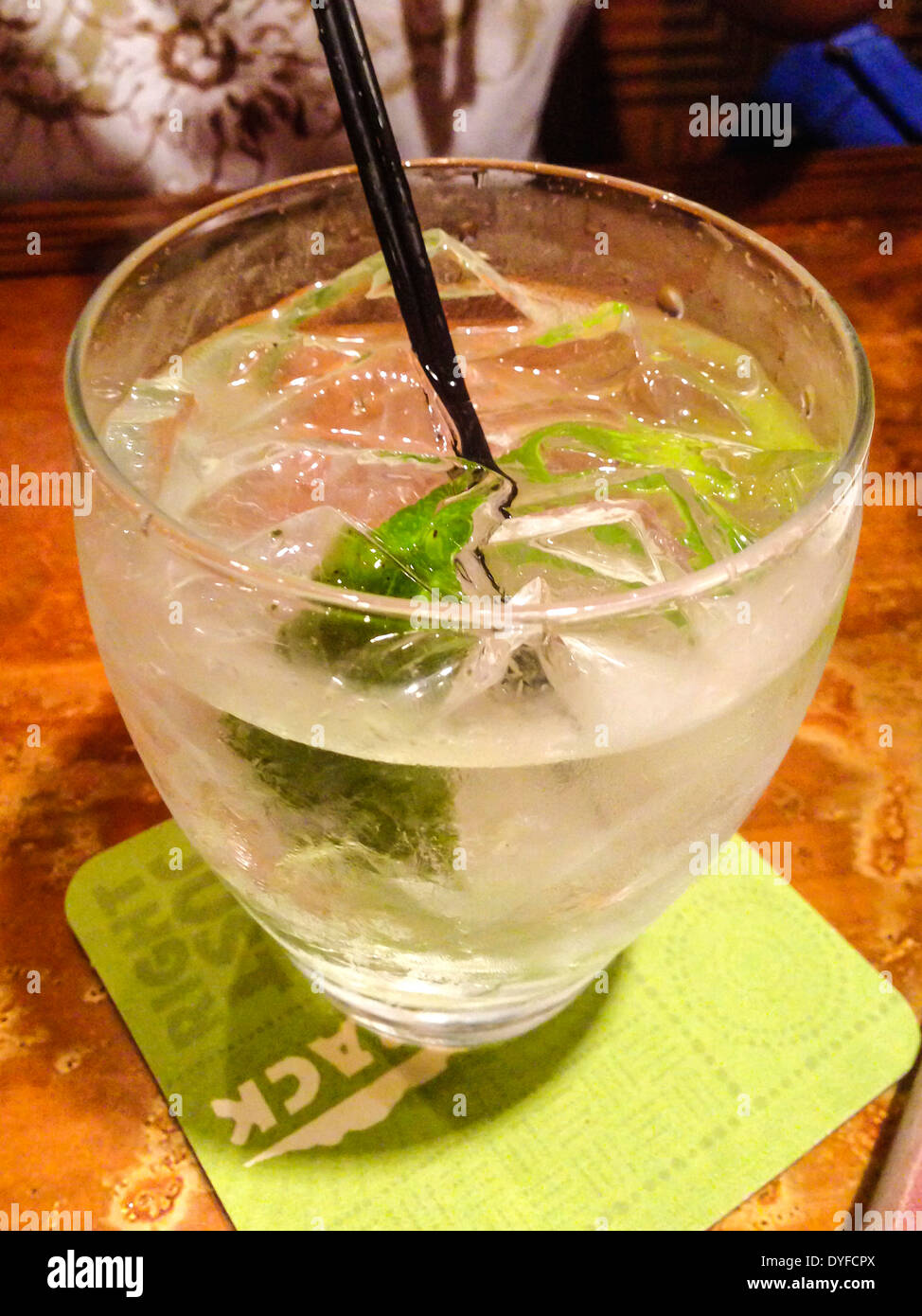 Gin and Tonic with Lime and Ice - Stock Image