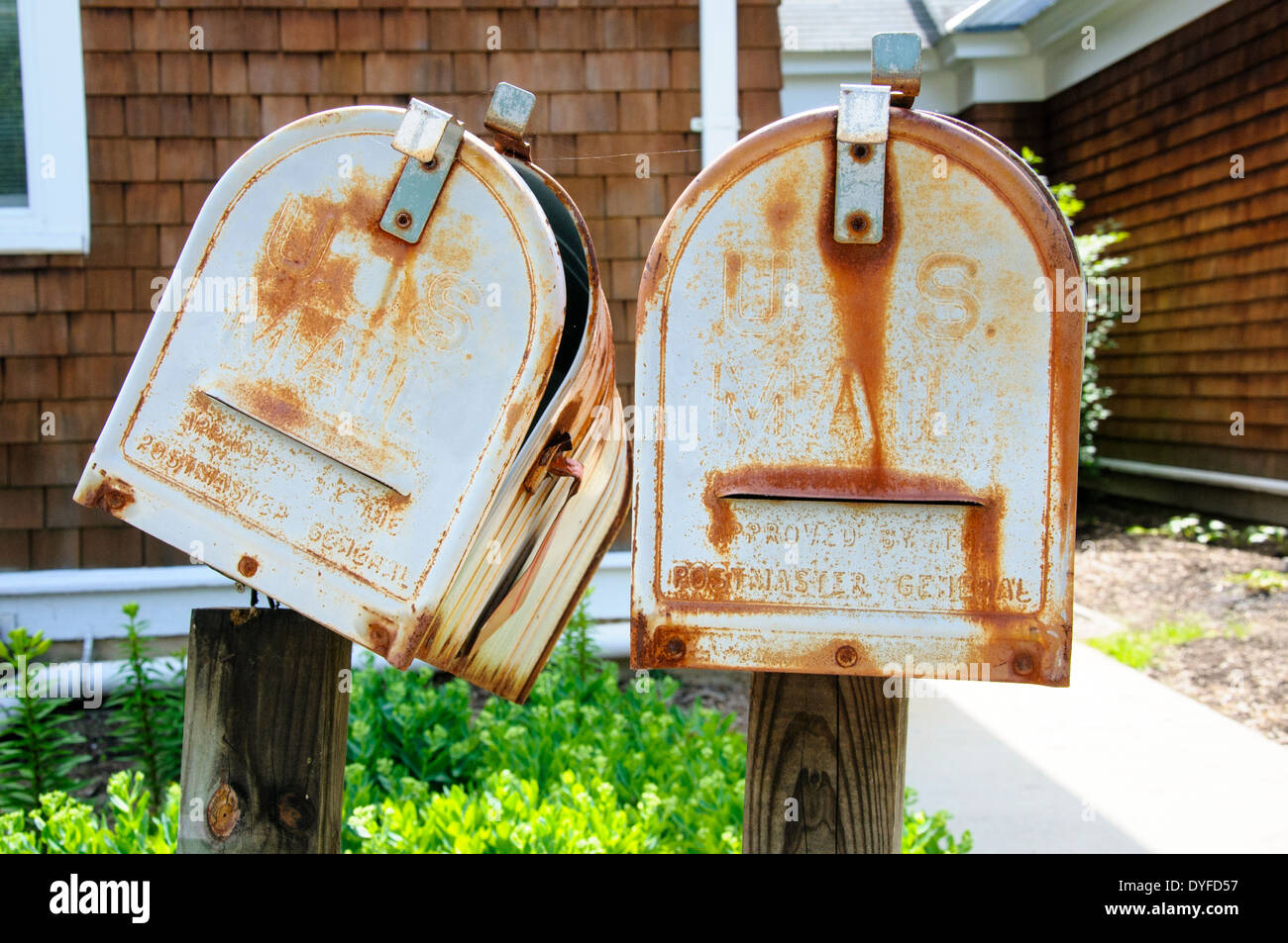 Old metal letter boxes. - Stock Image