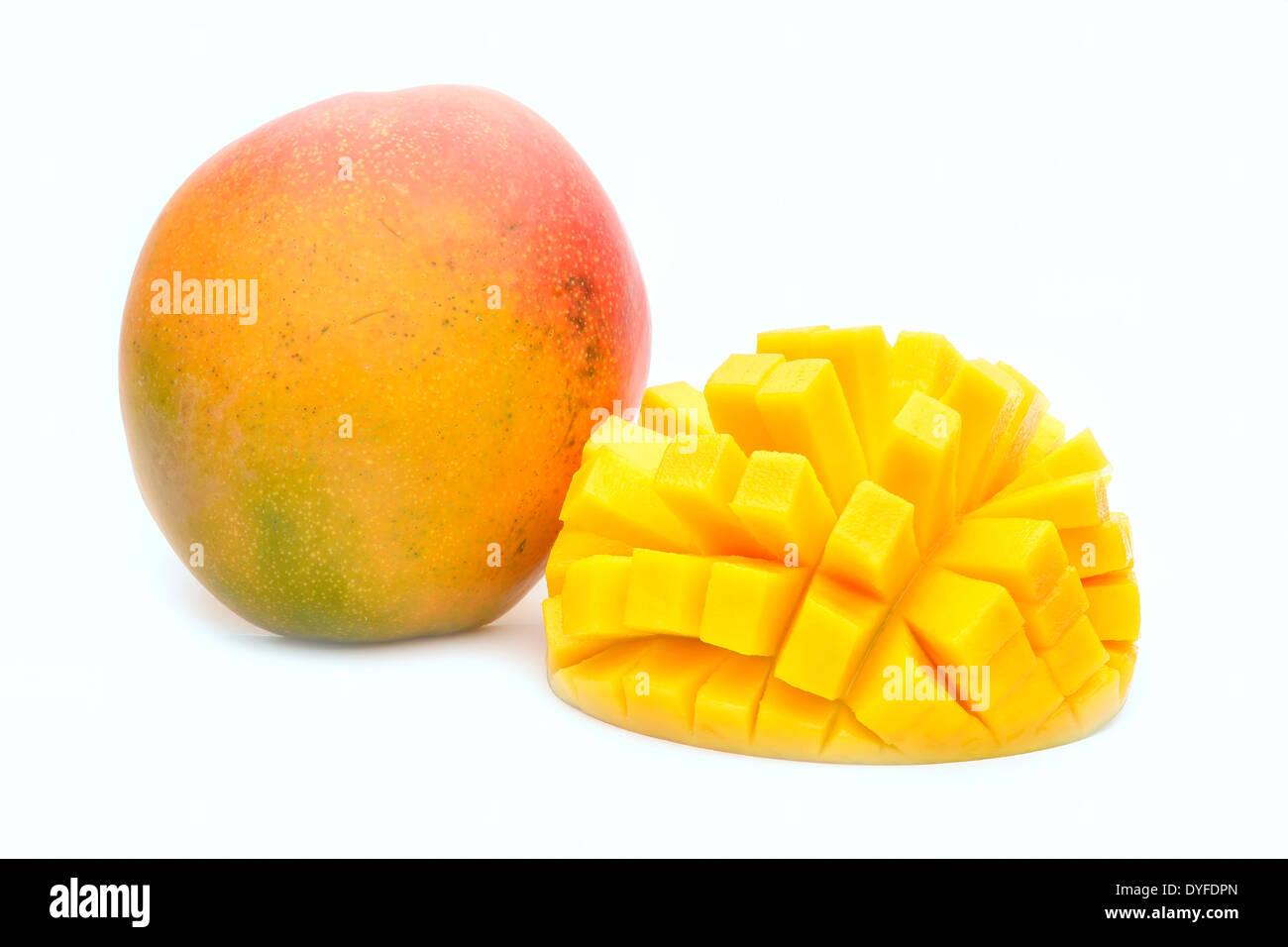 mango fruit isolated on white background - Stock Image