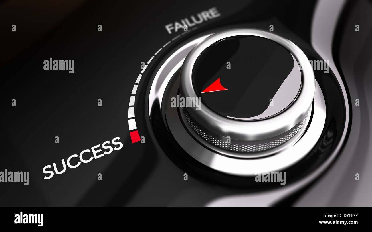 Button pointing the word success. Concept image for illustration of motivation improvement or individual efficiency. - Stock Image