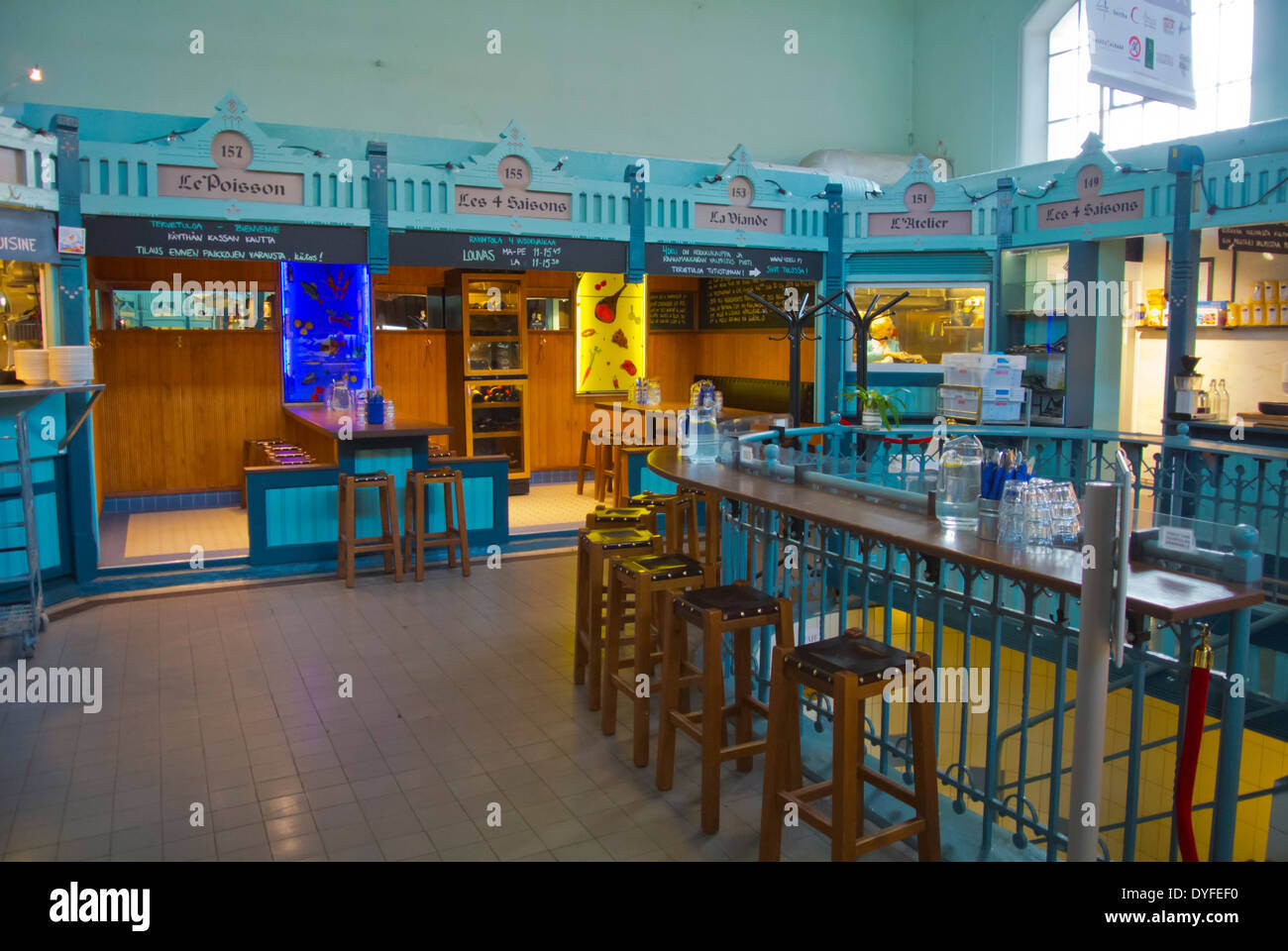 Eating area, Tampereen kauppahalli the market hall, Tampere, central Finland, Europe - Stock Image