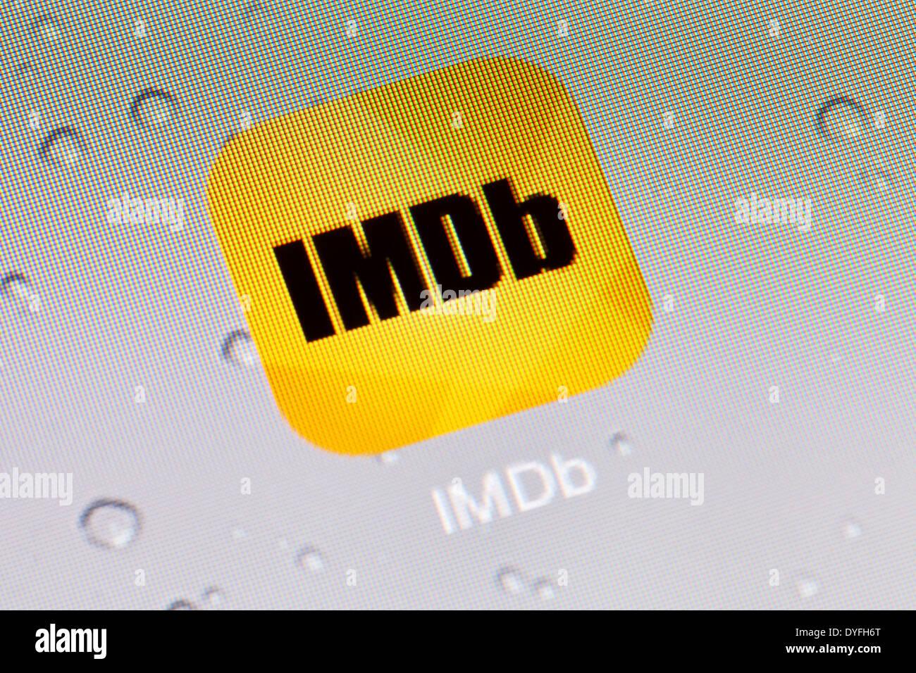 IMDb ( International Movie Database ) app logo icon on iPad