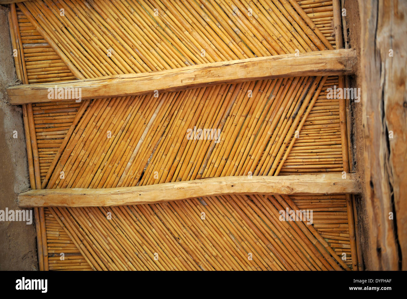 Bamboo Ceiling With Wood Beams Holds Up An Adobe Flat Roof With