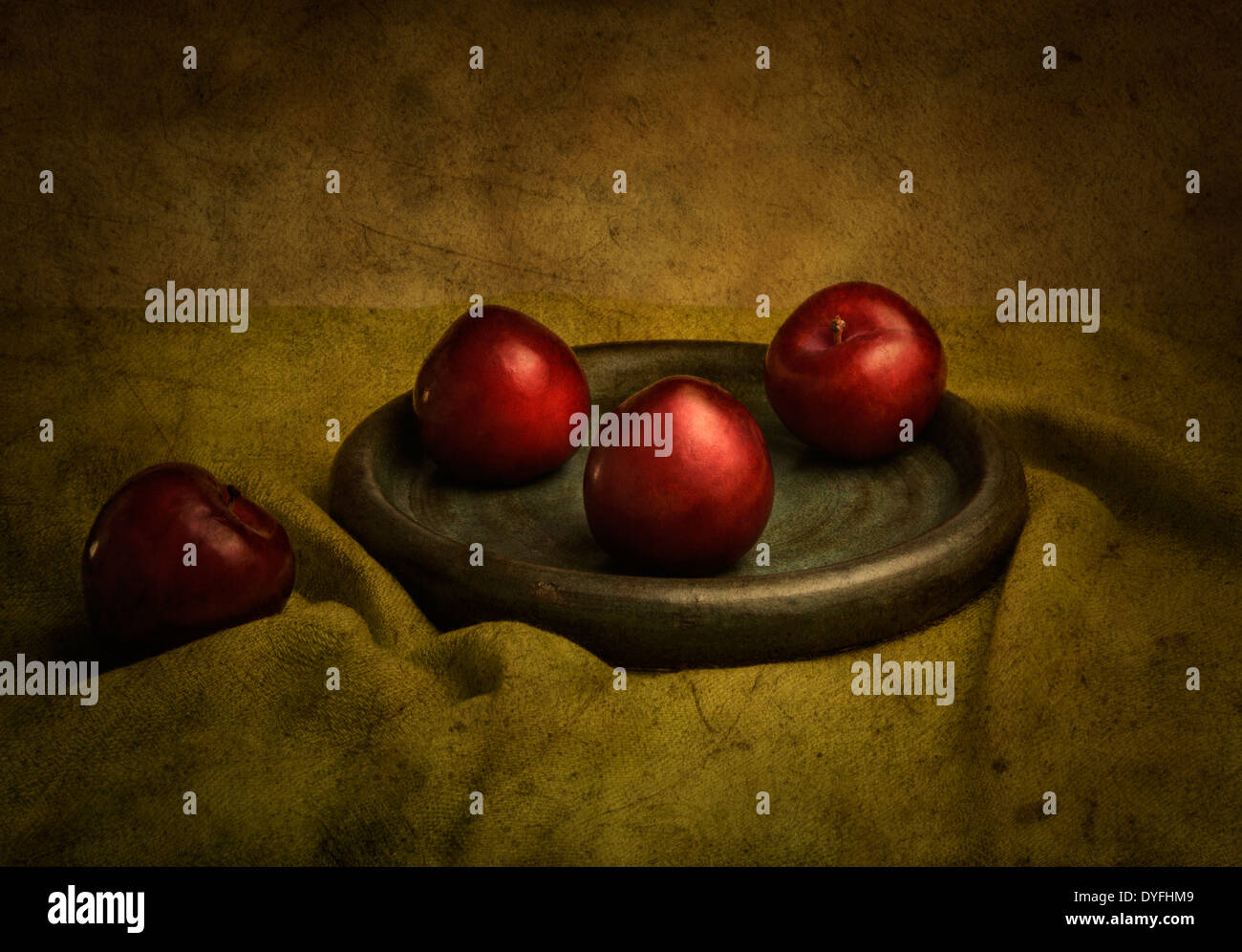 Plums with texture overlay - Stock Image