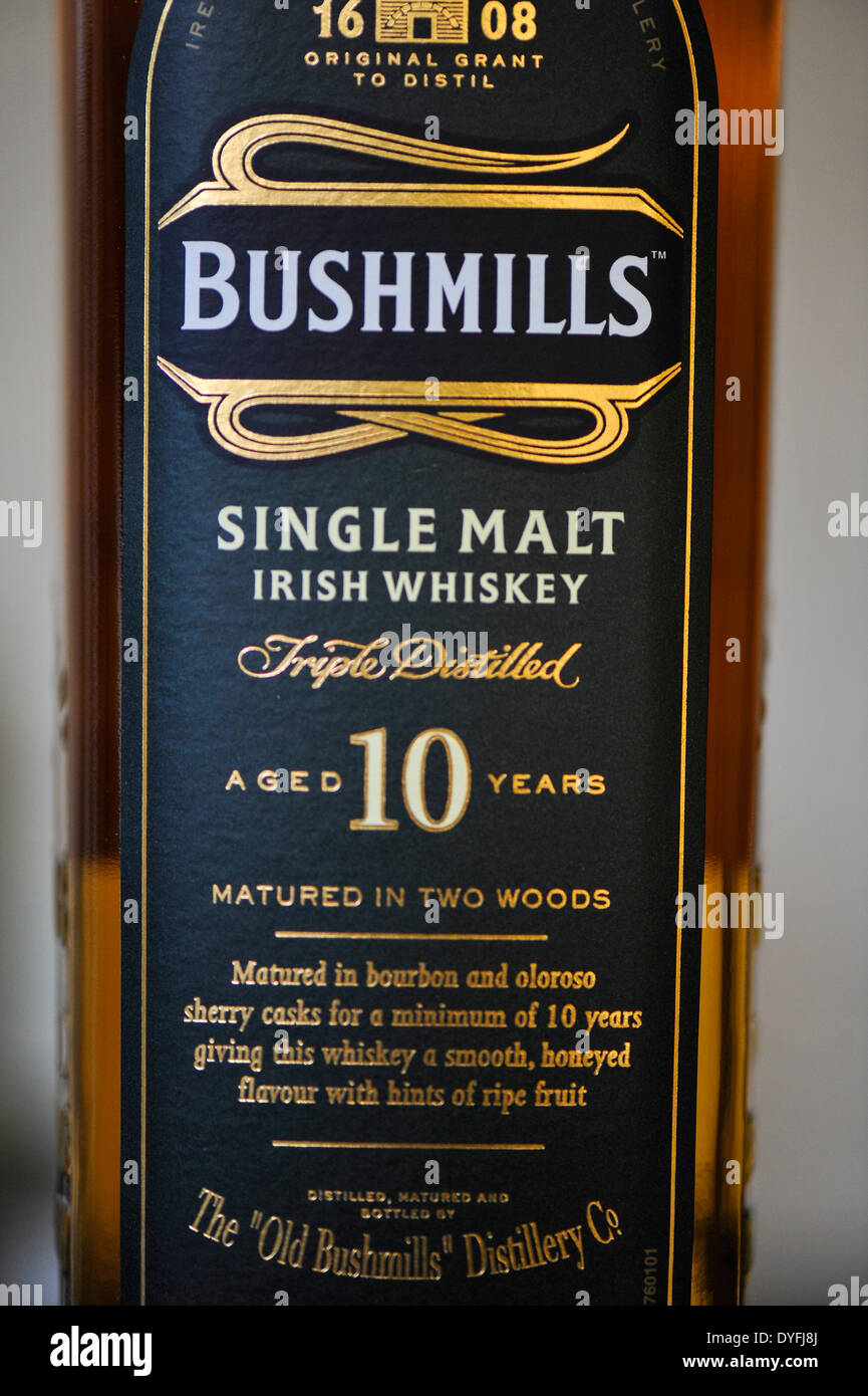 Bottle of Bushmills single malt Irish whiskey aged 10 years - Stock Image