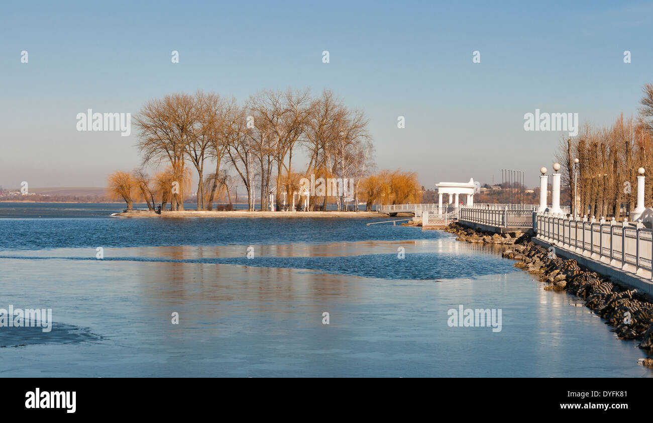 Ternopil waterfront with Lovers Island at spring Stock Photo