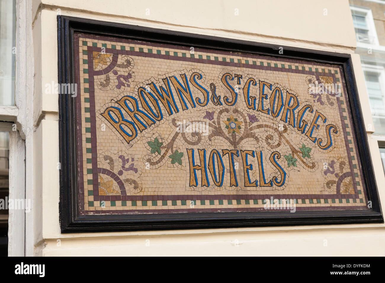 Sign, Browns & St Georges Hotels, Albermarle Street, London, UK - Stock Image