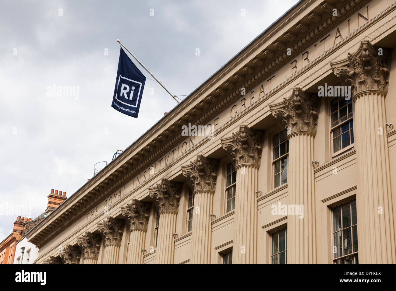 The Royal Institution, Albermarle Street, London. Home of scientific research and communication since Humphry Davy. - Stock Image