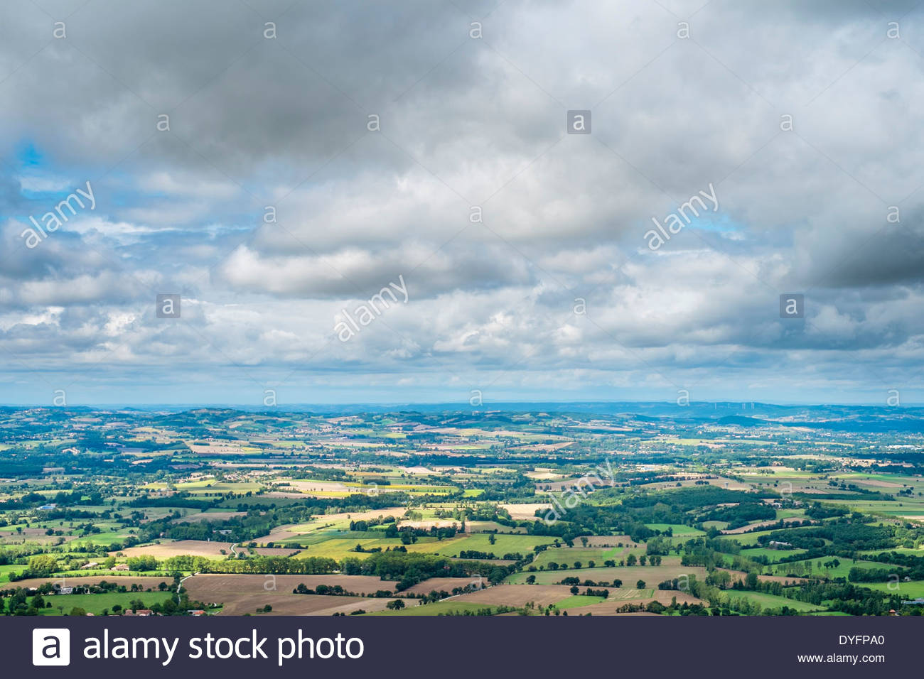 View overlooking farmland in valley, near Dourgne, Tarn Department, Midi-Pyrénées, France - Stock Image
