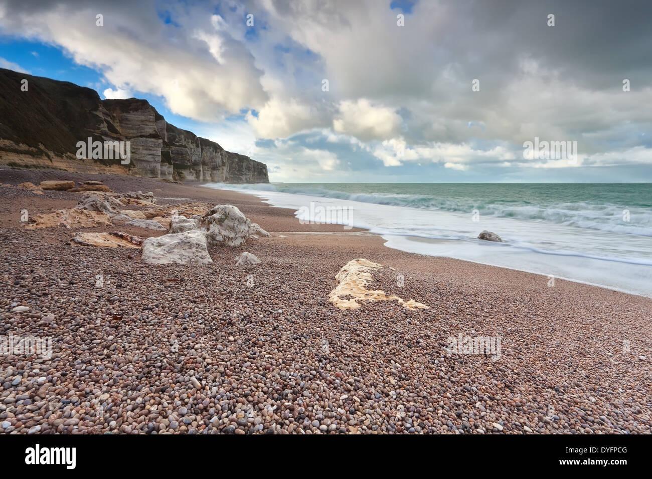 beautiful sky over Atlantic ocean coast, Normandy, France Stock Photo