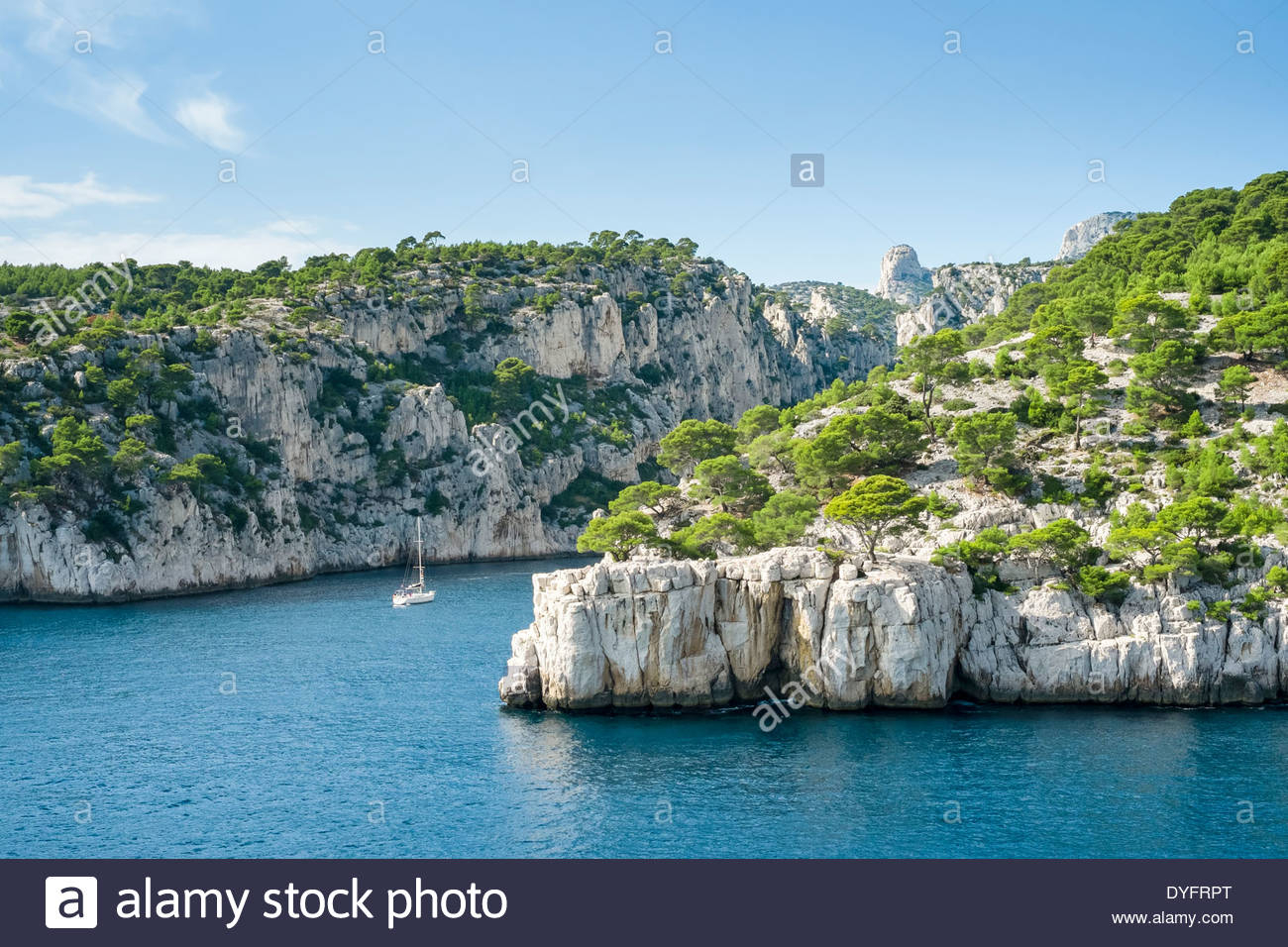 Entrance to Calanque de Port-Pin, Cassis, Bouches-du-Rhône, Provence-Alpes-Côte d'Azur, France Stock Photo