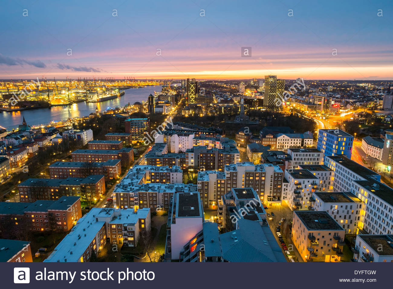 high angle view of central hamburg city skyline at night. Black Bedroom Furniture Sets. Home Design Ideas