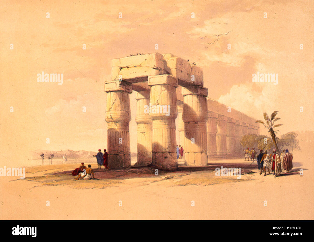 At Luxor, Thebes, Upper Egypt, circa 1848 - Stock Image