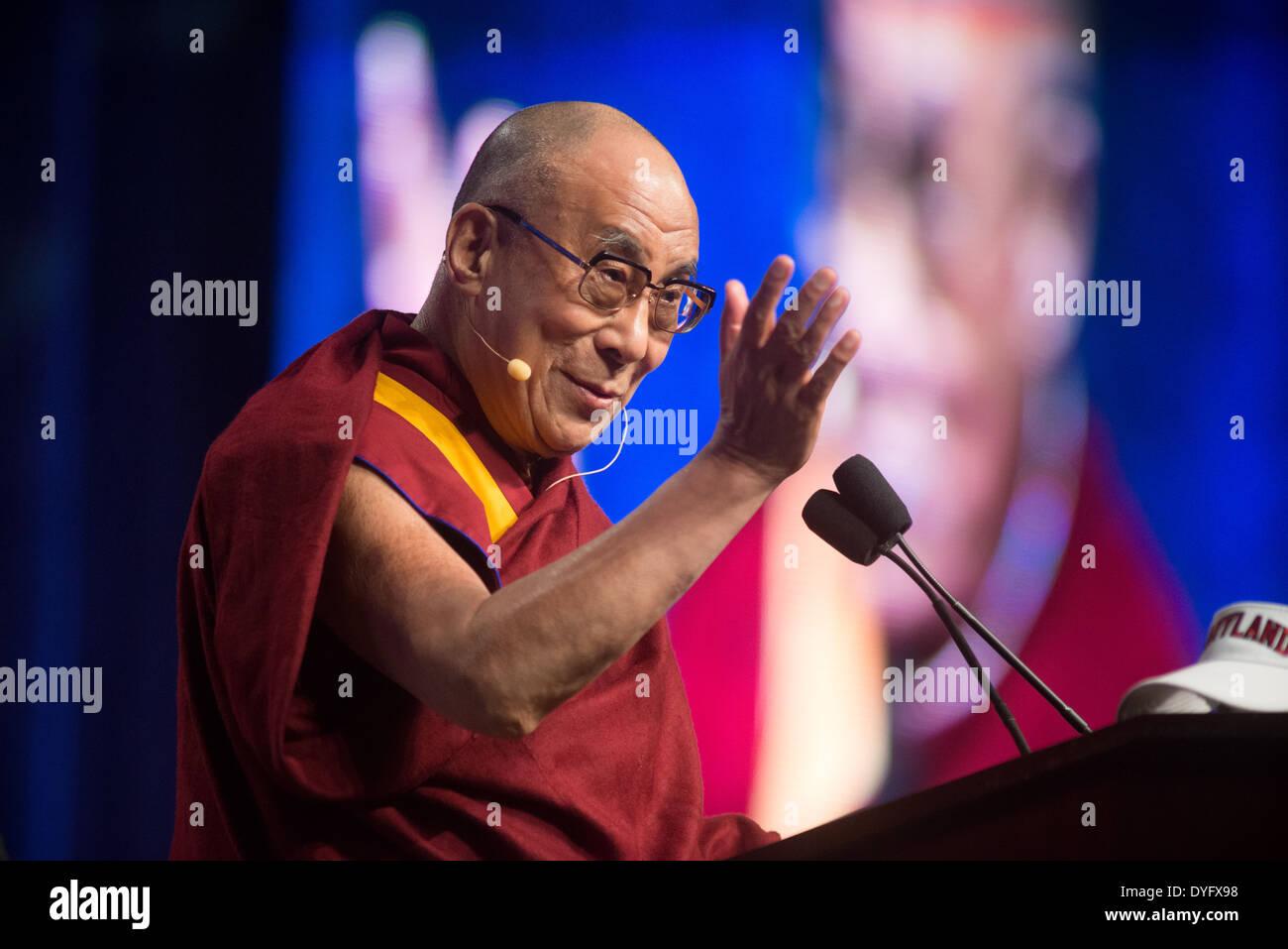 Dalai Lama Lectures at University of Maryland - Stock Image