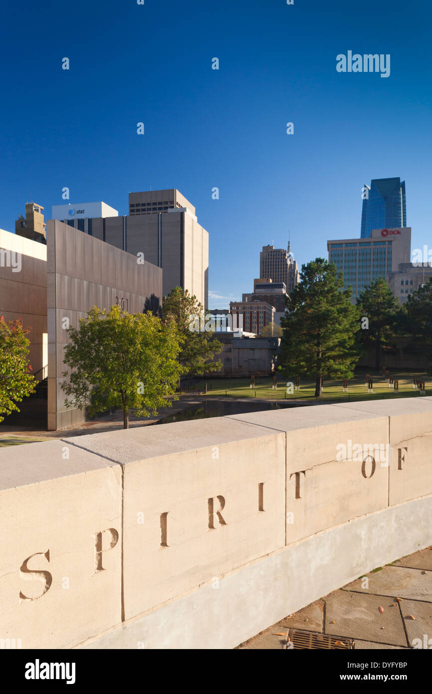 USA, Oklahoma, Oklahoma City, National Memorial to the victims of the Alfred P Murrah Federal Building Bombing on Stock Photo