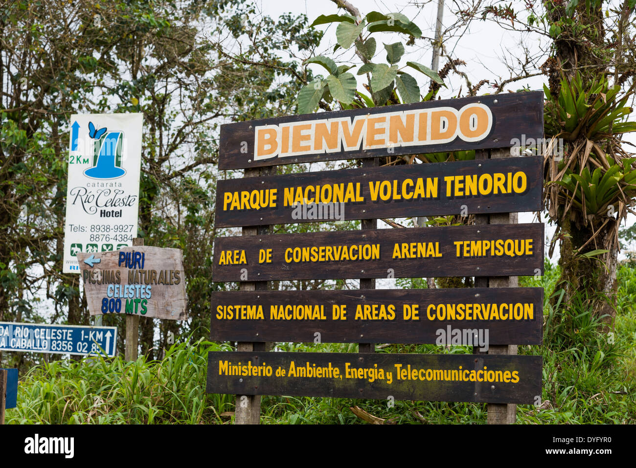 Welcome sign at the Tenorio Volcano National Park. Costa Rica. - Stock Image
