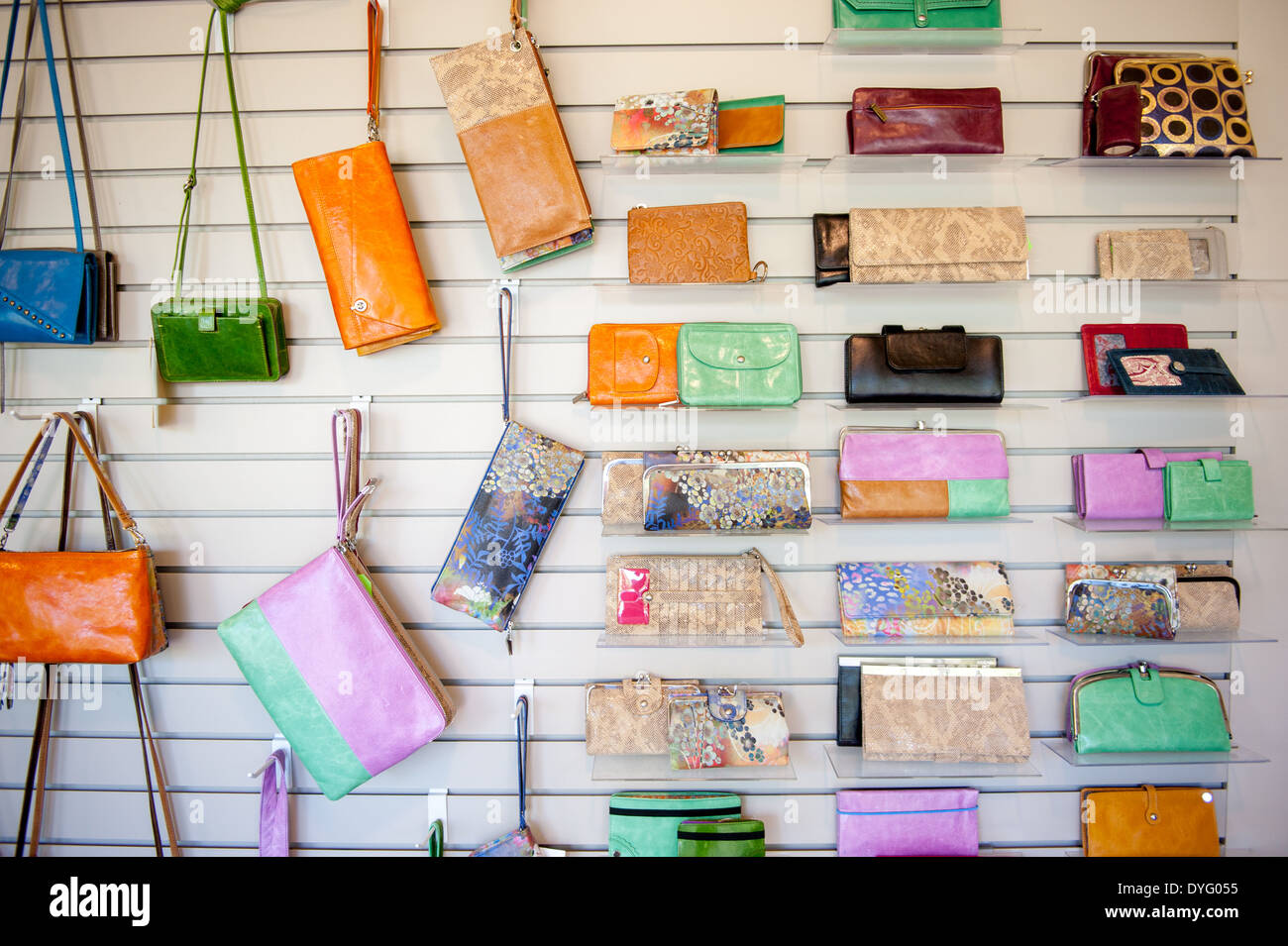 wall of wallets, bags, and purses Annapolis Junction MD Stock Photo