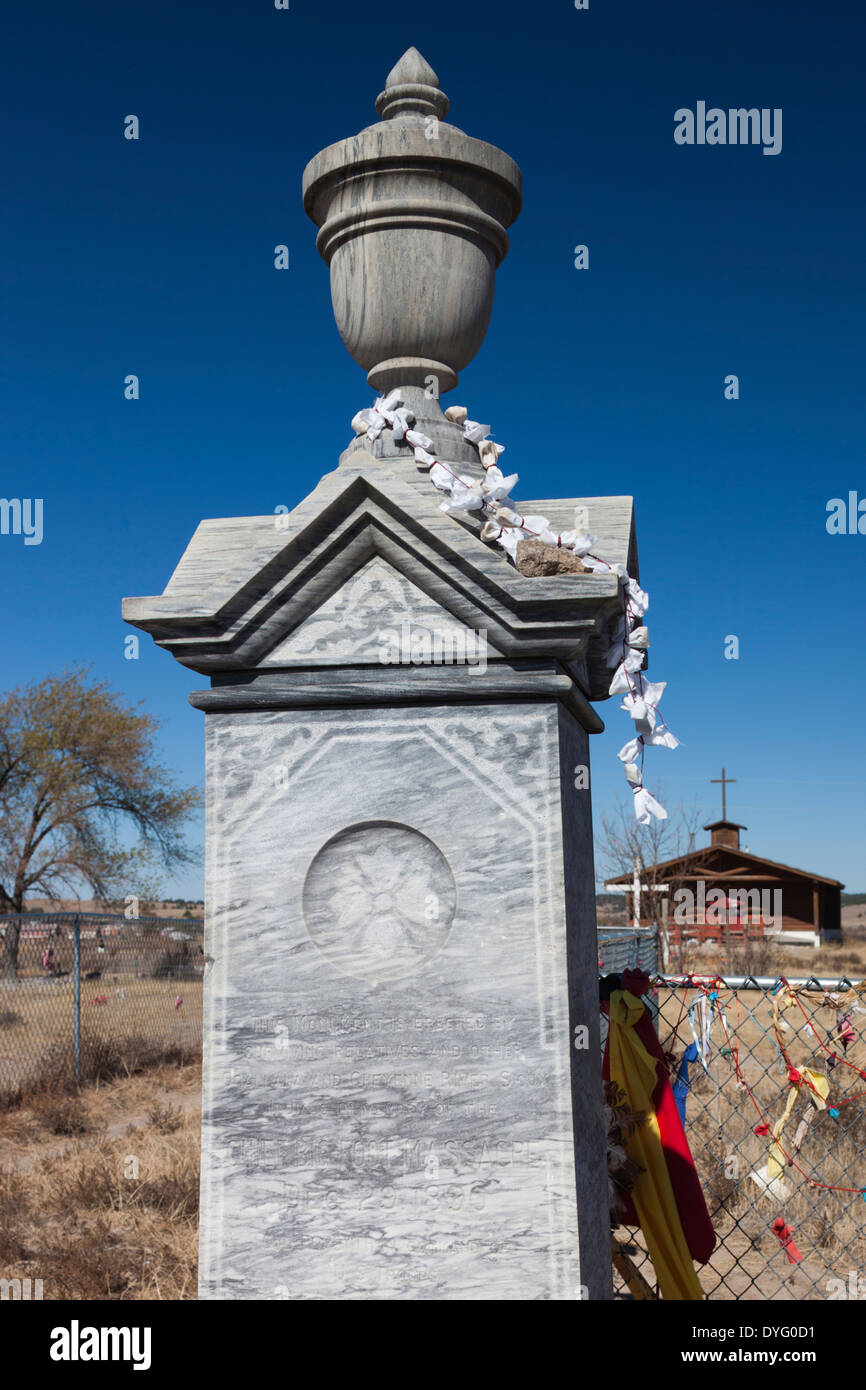 South Dakota, Wounded Knee Massacre National Historic Site, cemetery of over 250 Native Americans massacred on December Stock Photo