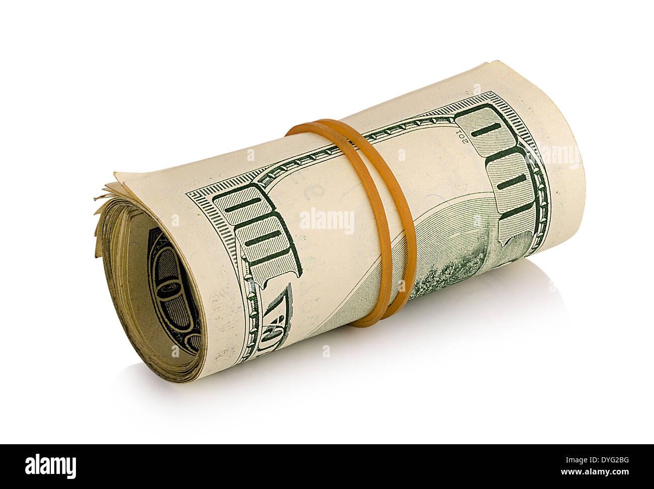 bundle of dollars isolated on white background - Stock Image