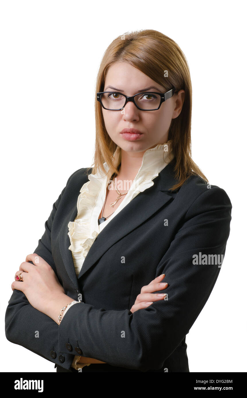 confident business woman in strict suit isolated on white - Stock Image