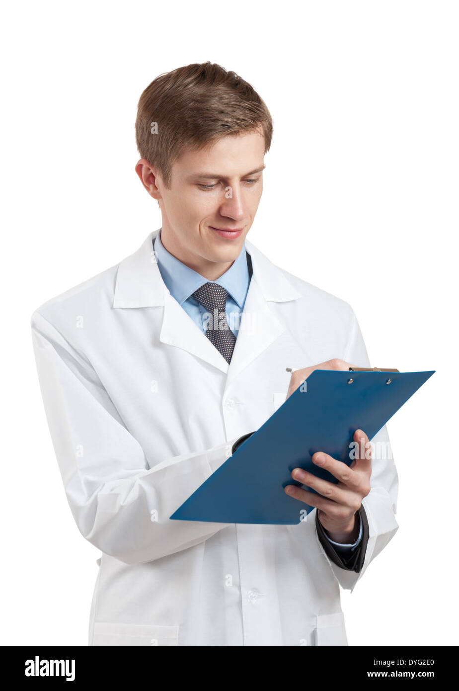 doctor in a white coat and with a clipboard - Stock Image