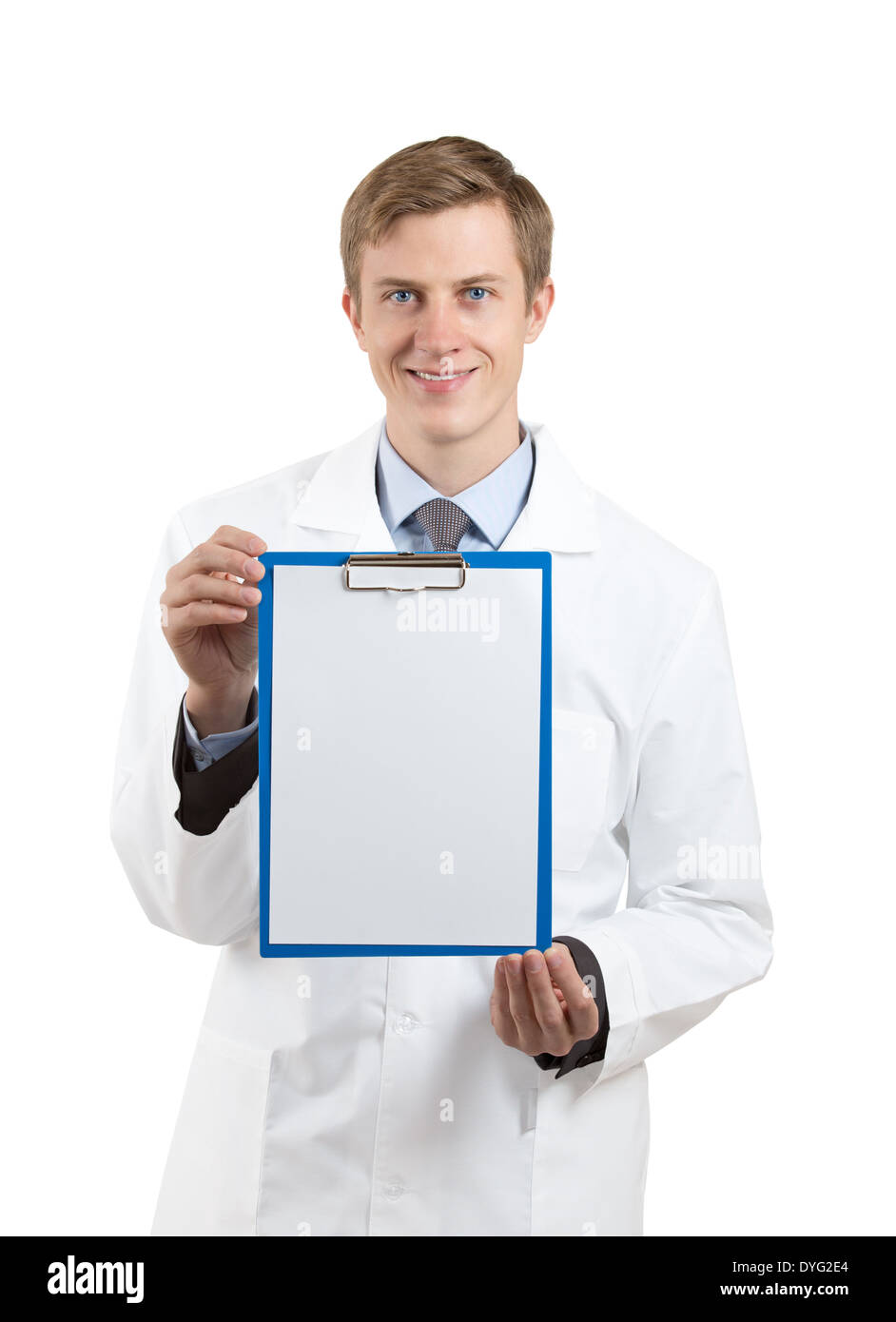 doctor holding a blank clipboard isolated on white background - Stock Image