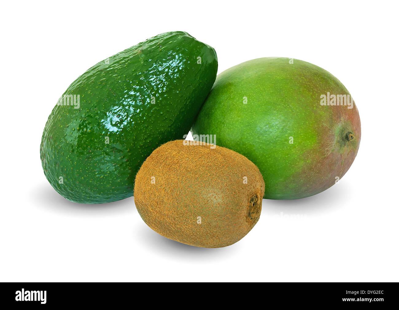 kiwi of mango of avocado isolated on the white - Stock Image