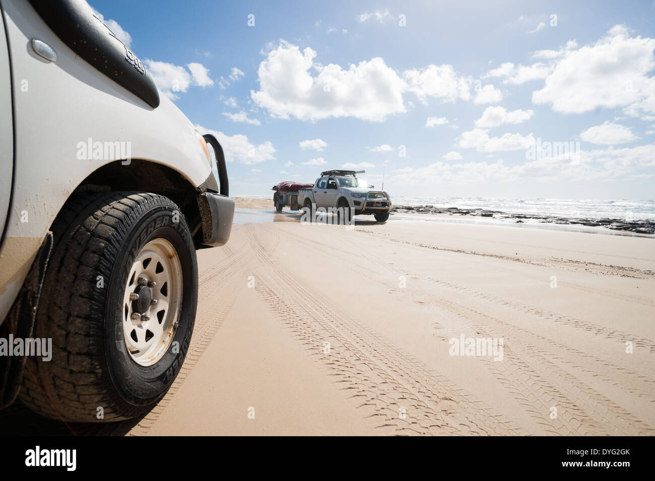 Tourist transportation along the Ten Mile beach on Fraser island, Australia in March 2014. - Stock Image