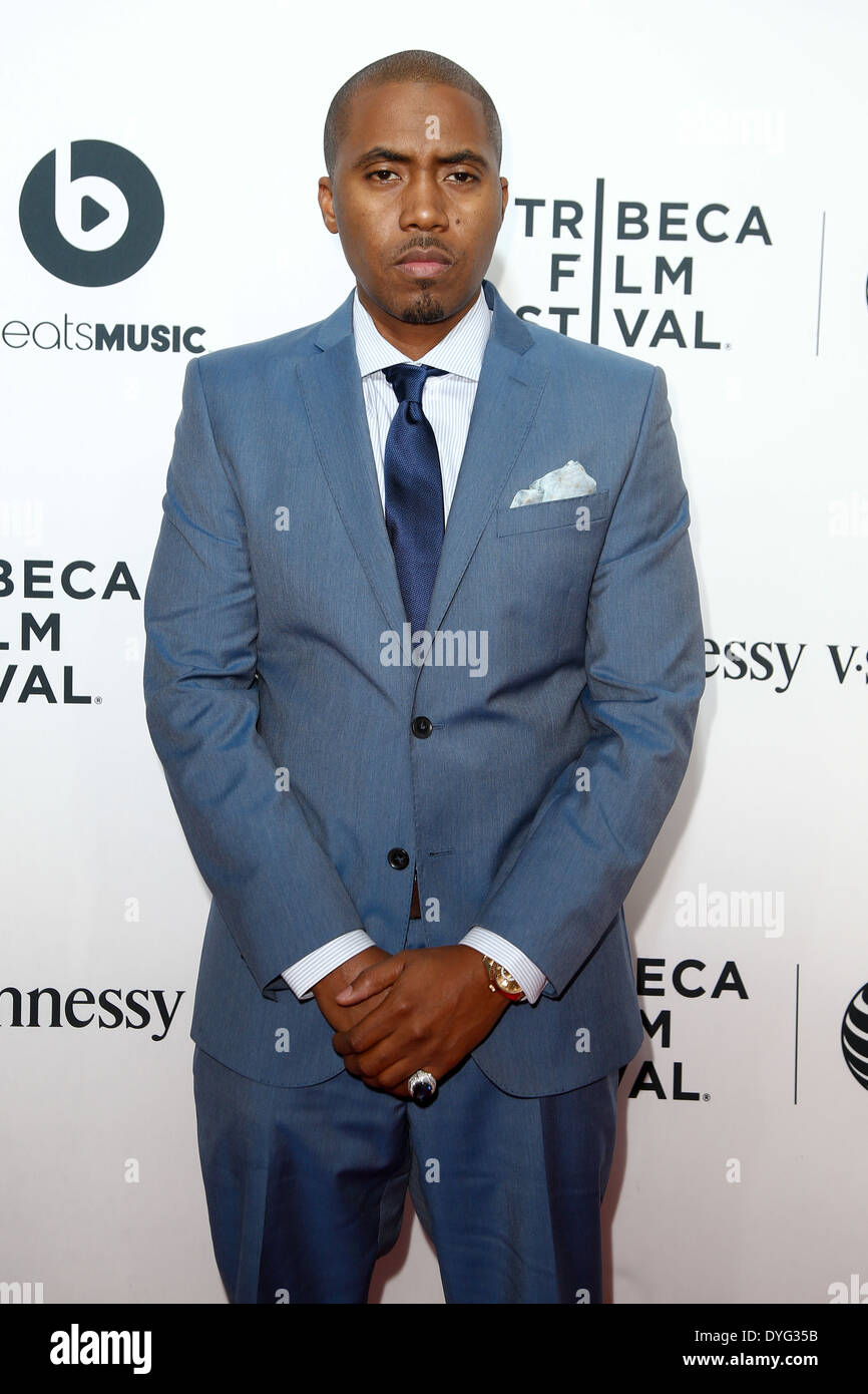 Rapper Nas attends the world premiere of 'Time Is Illmatic' at the 2014 TriBeCa Film Festival Opening Night. - Stock Image