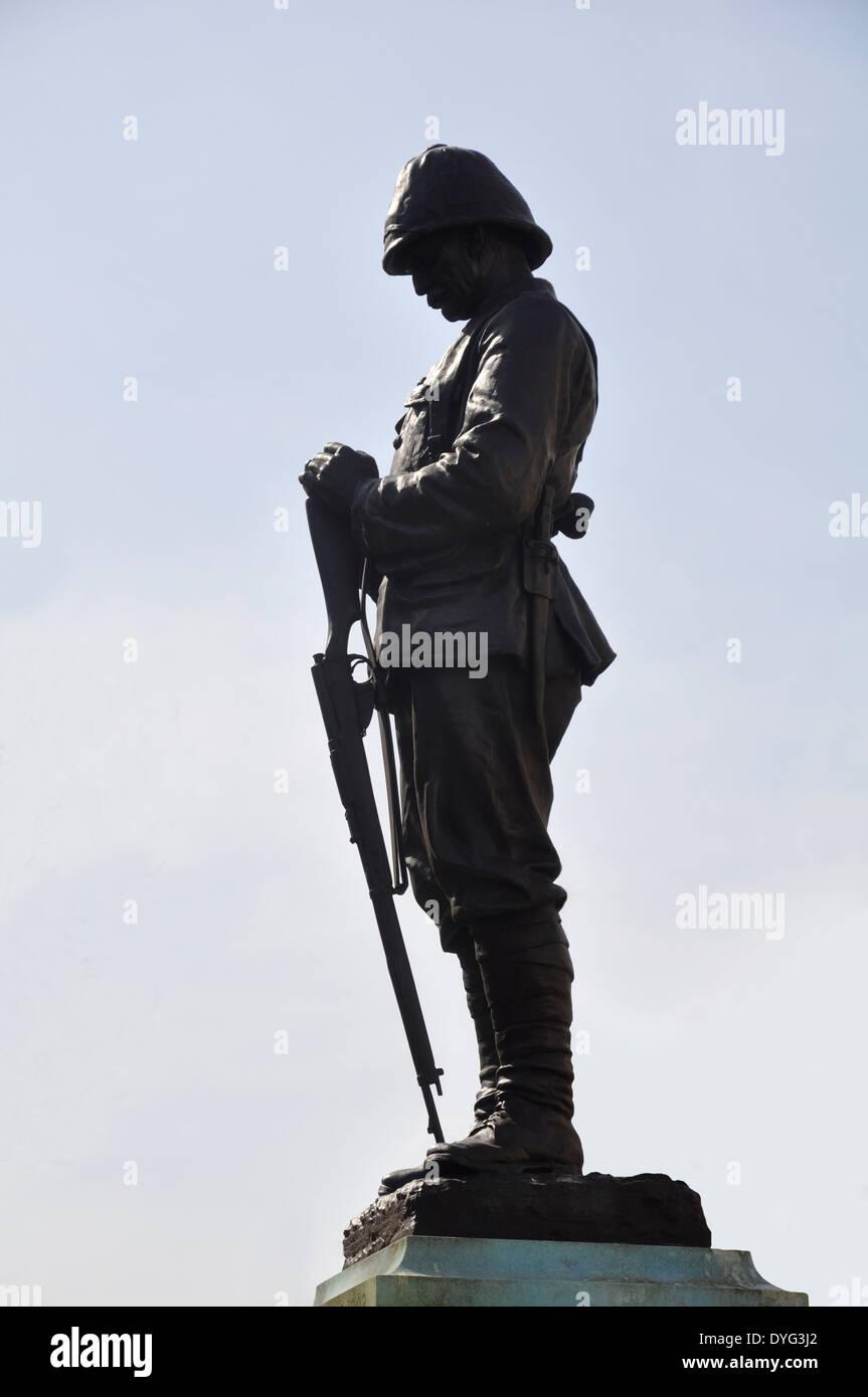 Boer War Memorial - Standing Soldier with Rifle; 1899 - 1902 (Second Boer War)  The Promenade,  Cheltenham, Gloucestershire, UK. - Stock Image
