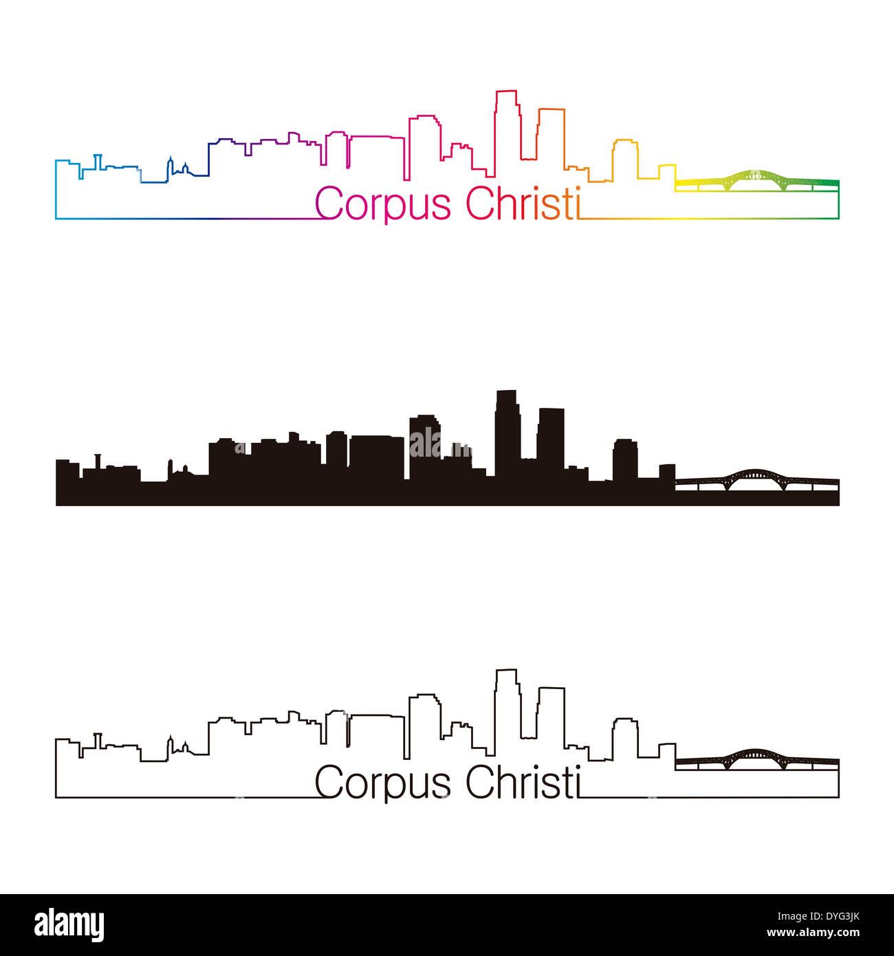 Corpus Christi skyline linear style - Stock Image