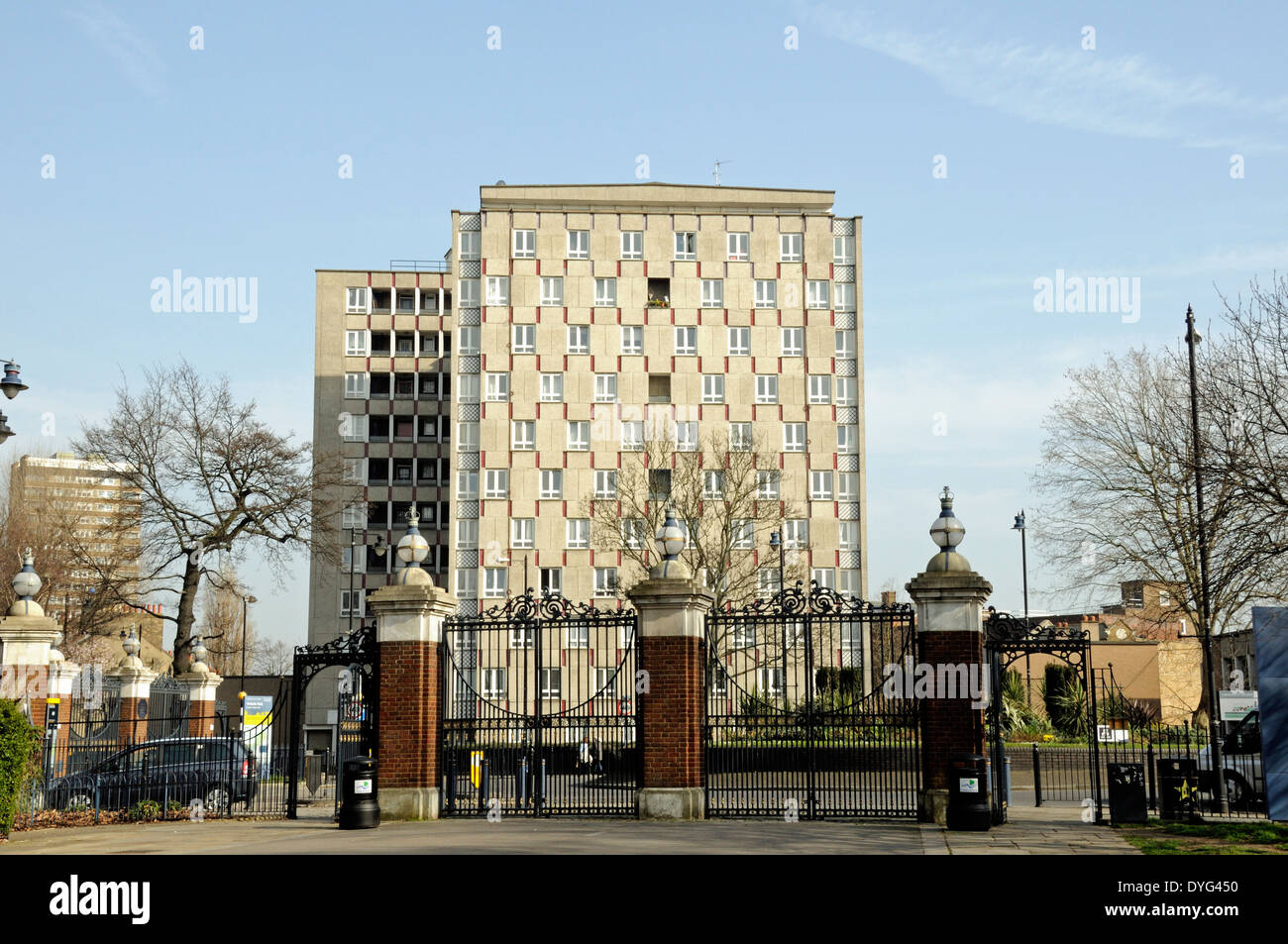 Gates Victoria Park with flats in distance, London Borough of Tower Hamlets, England Britain UK - Stock Image