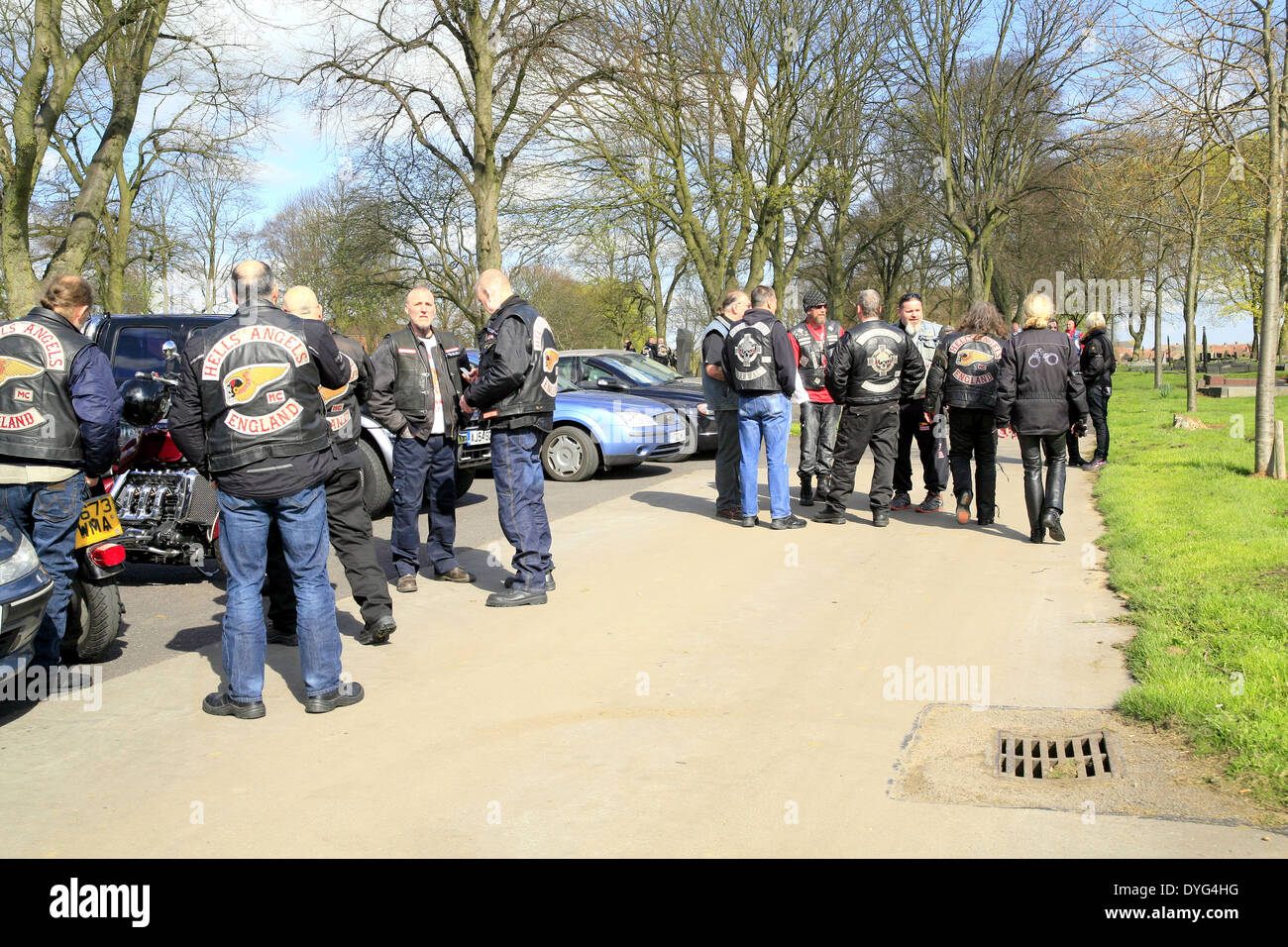 Large numbers of Hells Angels meet to pay respects at the funeral of a chepter president. - Stock Image