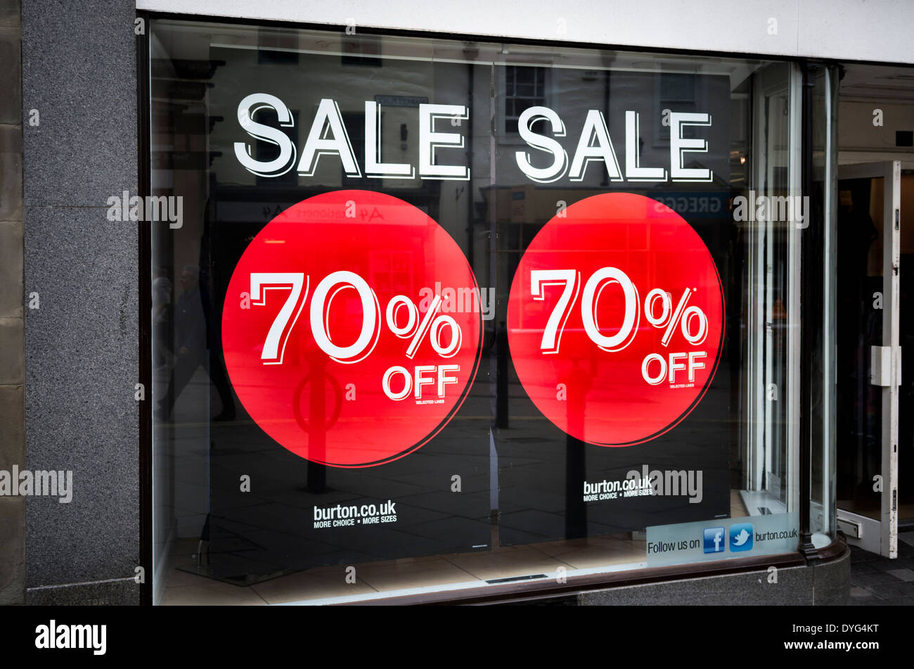 Burton's 70% sale promotion in West Country UK - Stock Image