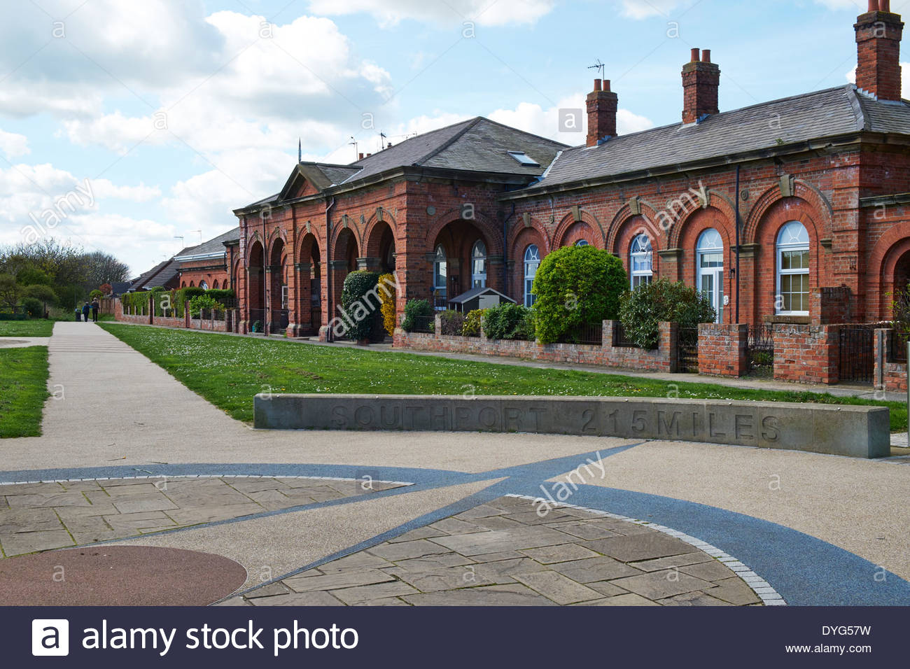 Old railway Station (now flats) Hornsea, East Yorkshire Line  closed due to Beeching Report. Now part of the Transpennine Trail - Stock Image