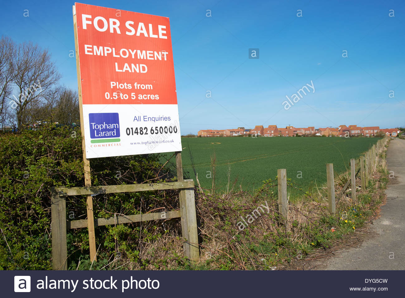 Employment land for sale sign hornseaeast yorkshire land for development to provide employment