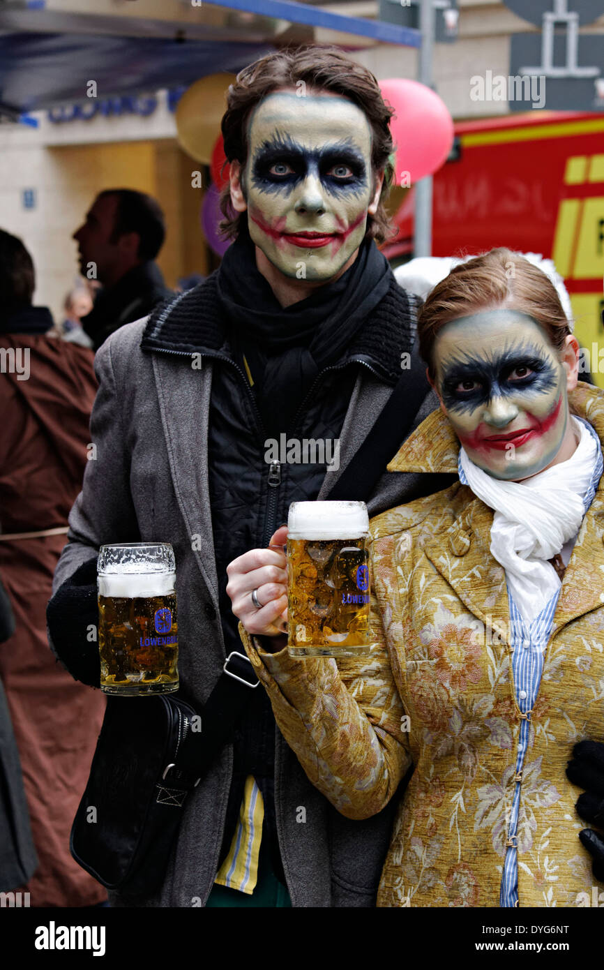 Man And Woman Zombie Make Up With Beer Mugs Fasching Street Party