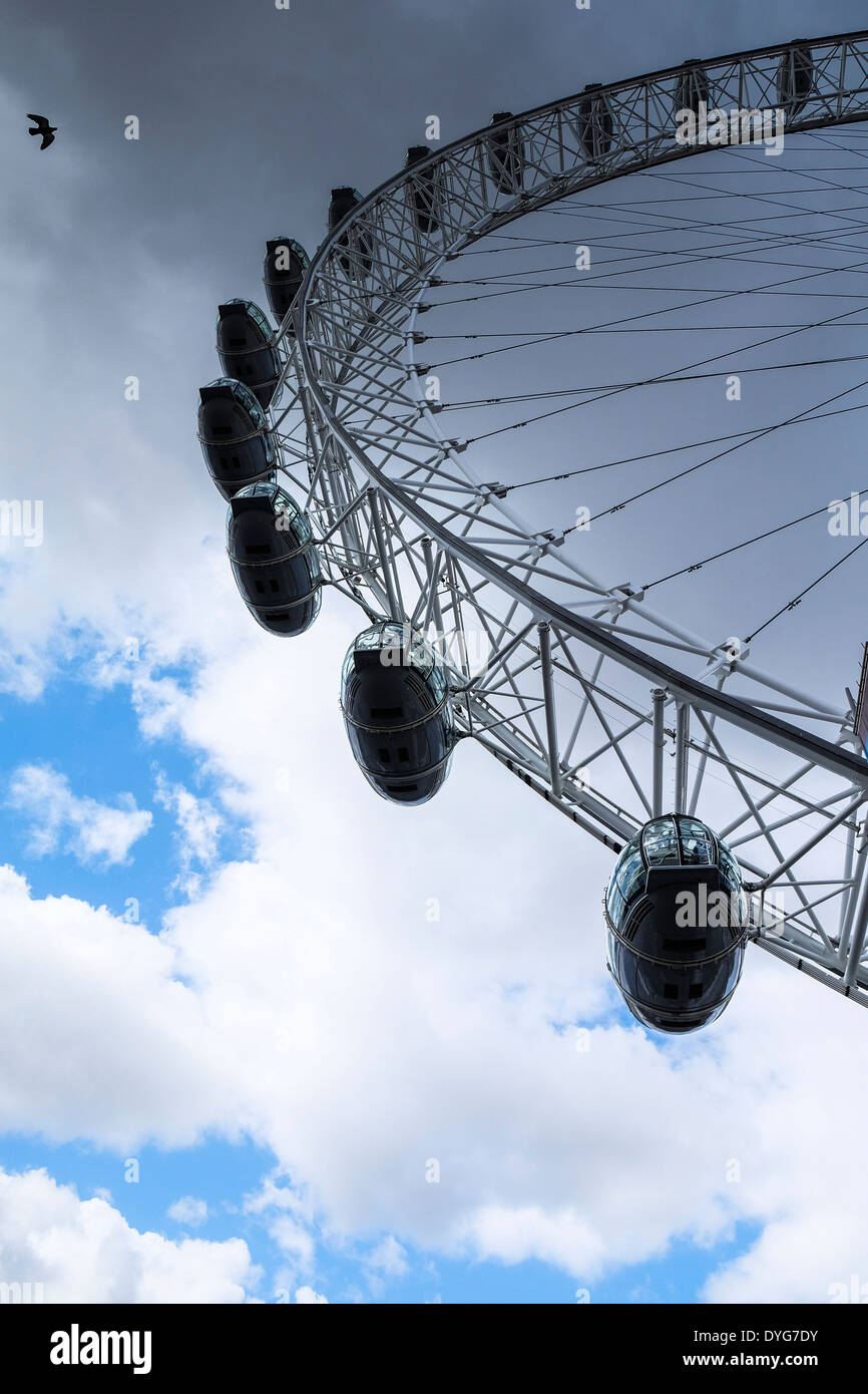 The passenger capsules on the London Eye. - Stock Image