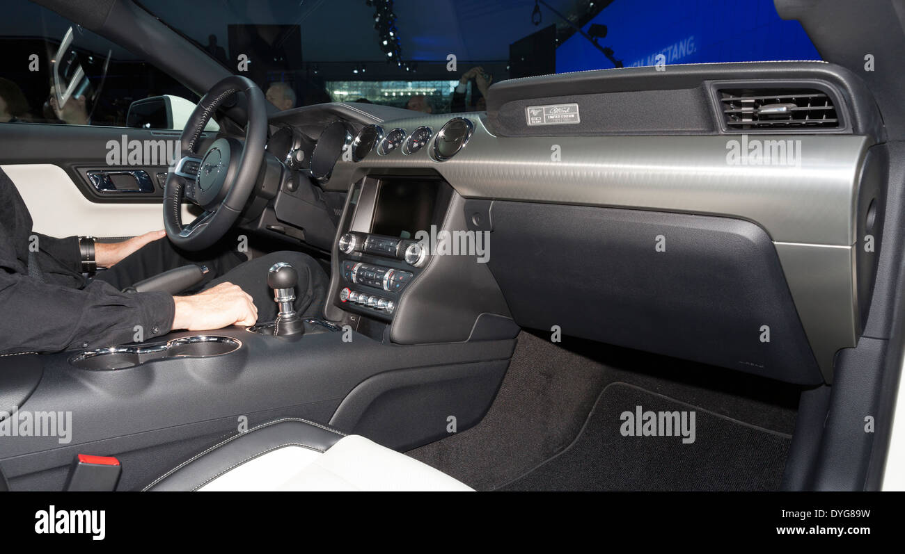 Interior Design Of Ford 50th Anniversary Edition 2015 Mustang GT 5.0 On  Display At New York International Auto Show