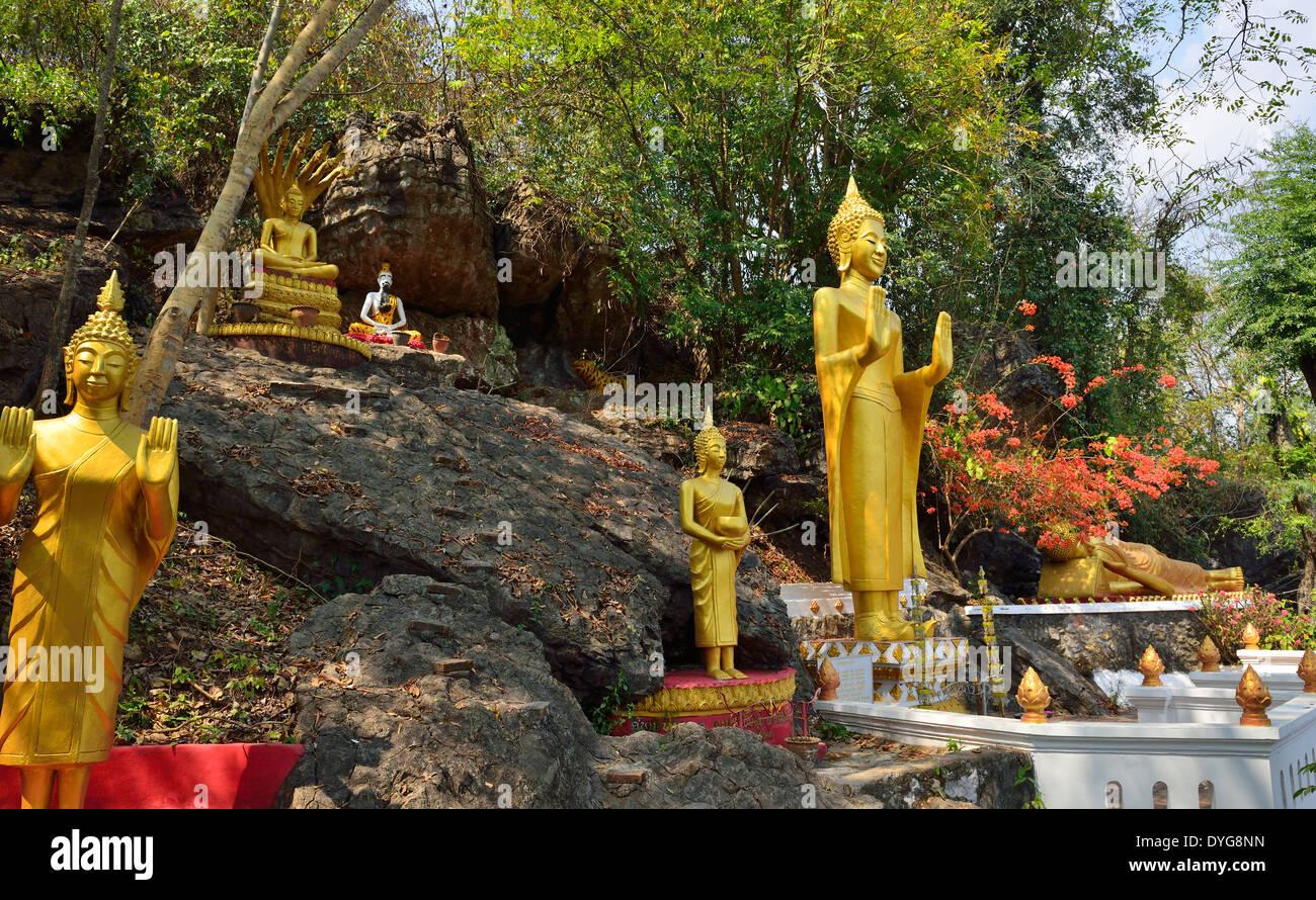 Buddhist statuary in Luang Prabang, - Stock Image