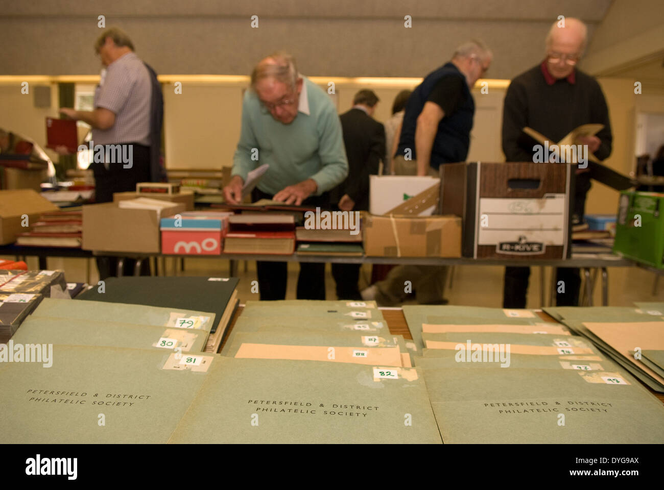 Stamp auction room, Petersfield, Hampshire, UK. - Stock Image