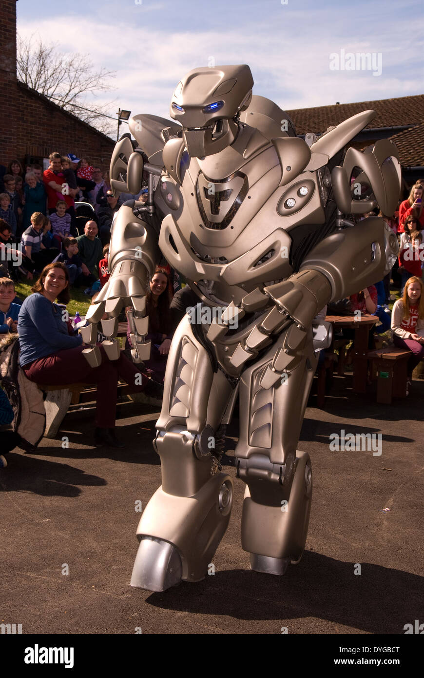 Titan the Robot appearing at the STEM (Science, Technology, Engineering, Mathermatics) Festival, Liphook, Hampshire, UK. - Stock Image